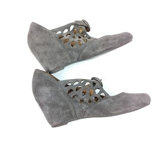 Jeffrey Campbell Gray Suede Lasercut Buckle Wedge